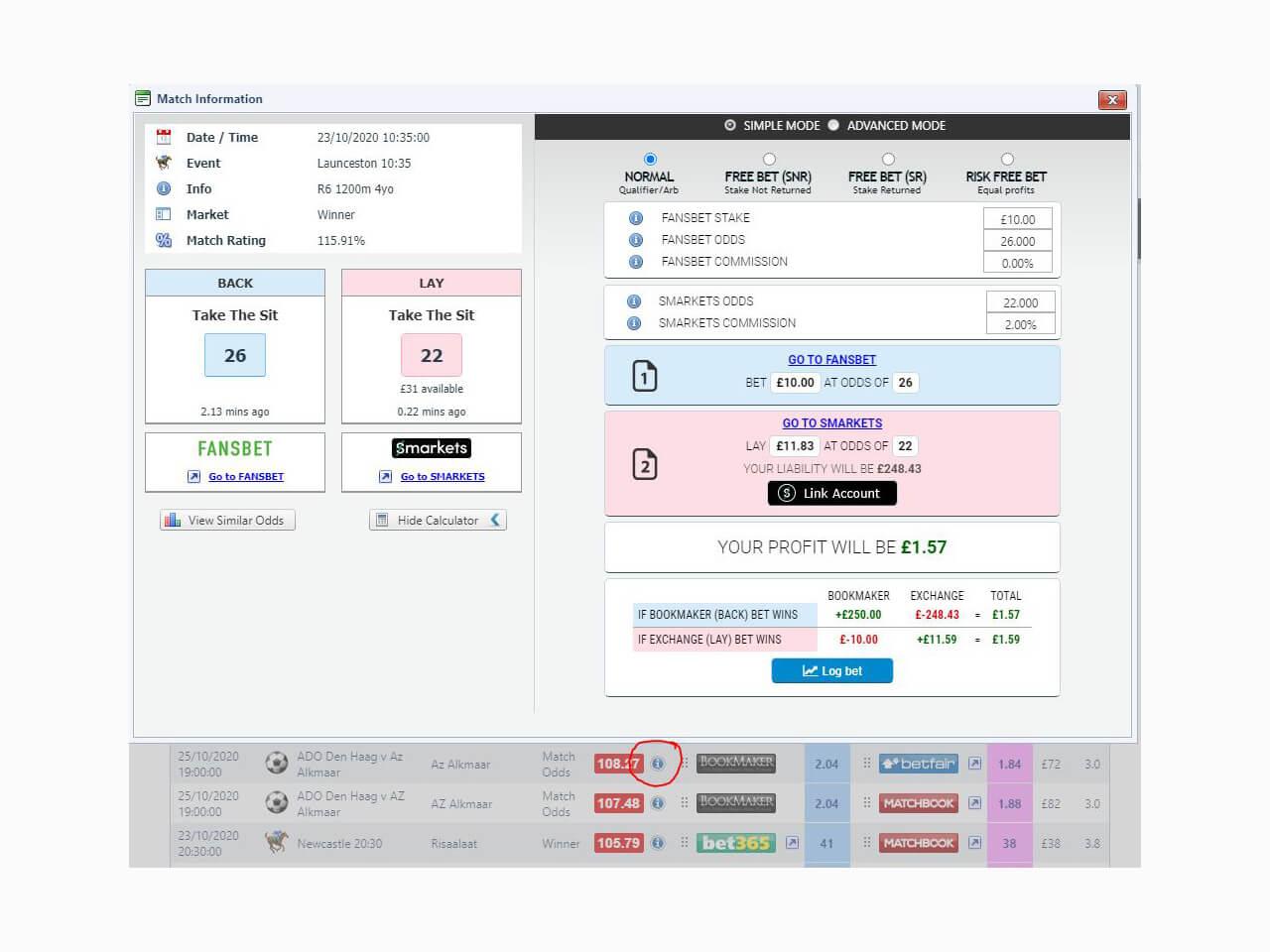 Oddsmonkey Info Calculator with Exchange Integration